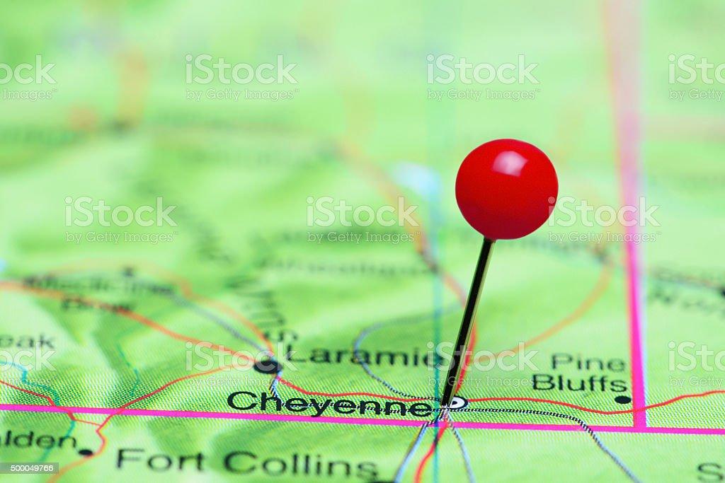 Cheyenne pinned on a map of USA stock photo