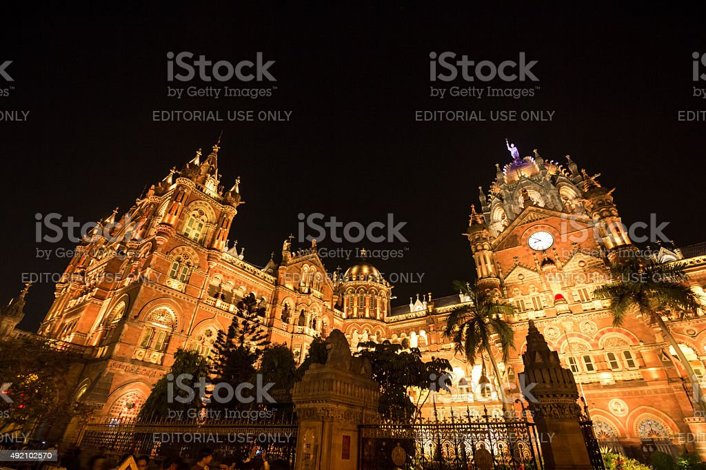 Chhatrapati Shivaji Terminus - At night stock photo