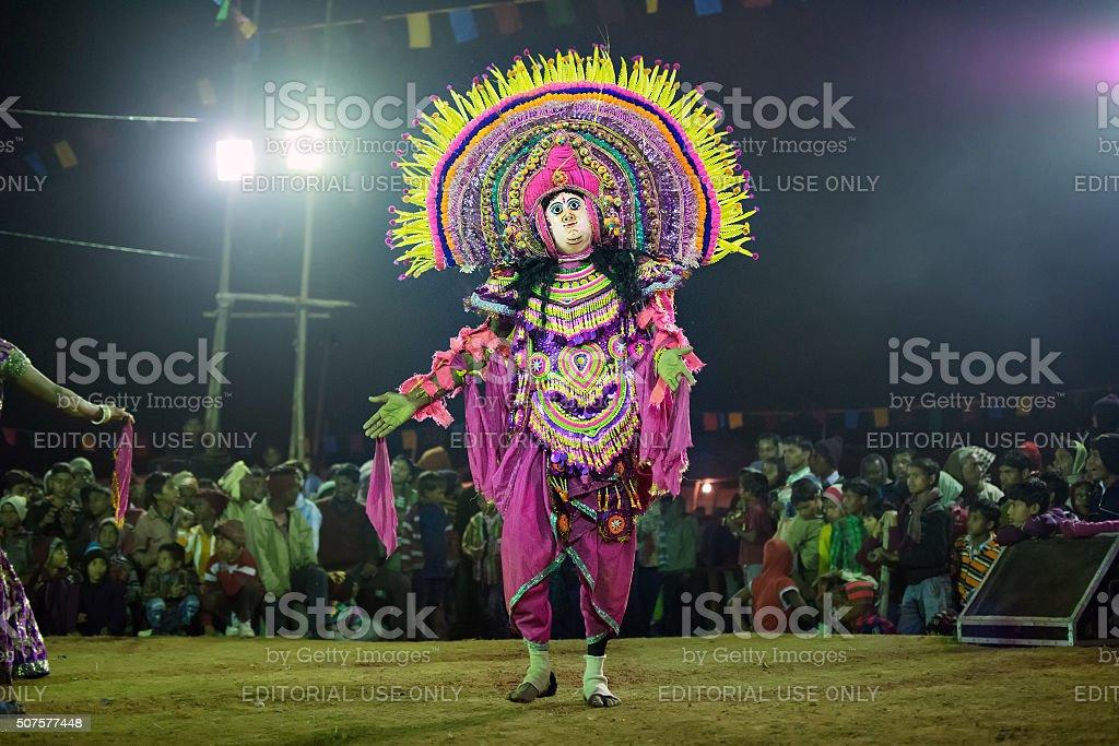 Chhau Dance, Indian tribal martial dance at night in village stock photo