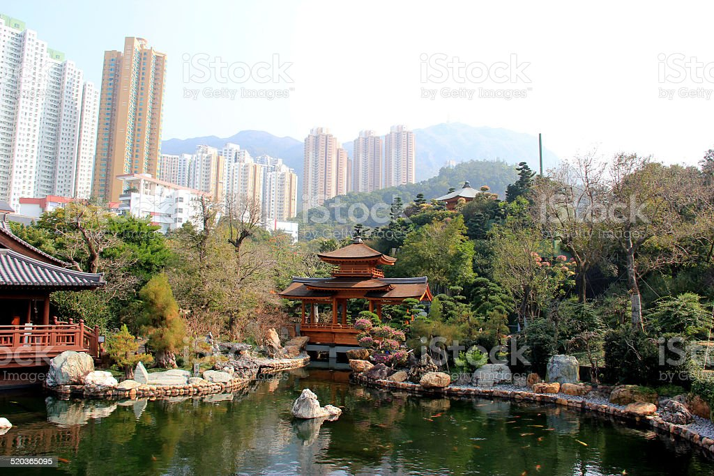 Chi Lin Nunnery, a Buddhist temple complex in Hong Kong stock photo