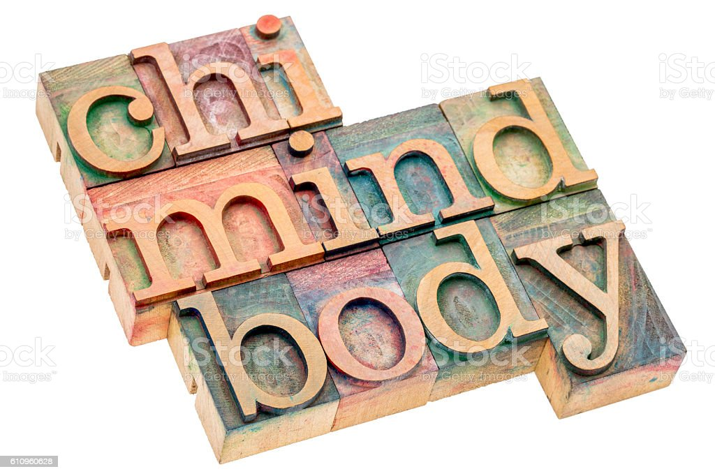 chi, mind, body word abstract stock photo