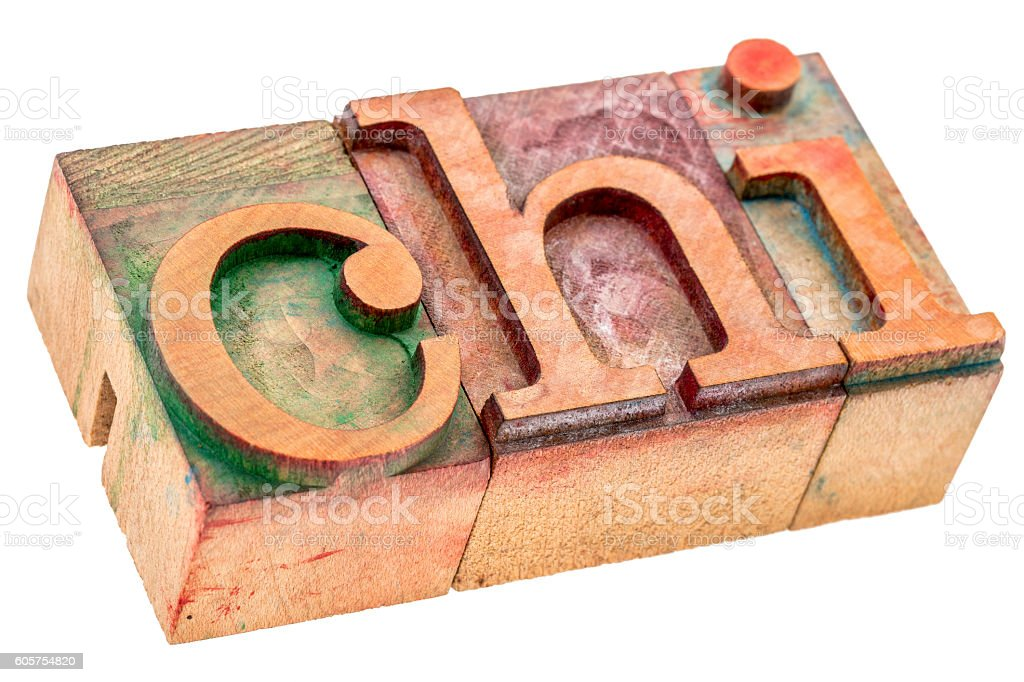 chi word abstract in wood type stock photo