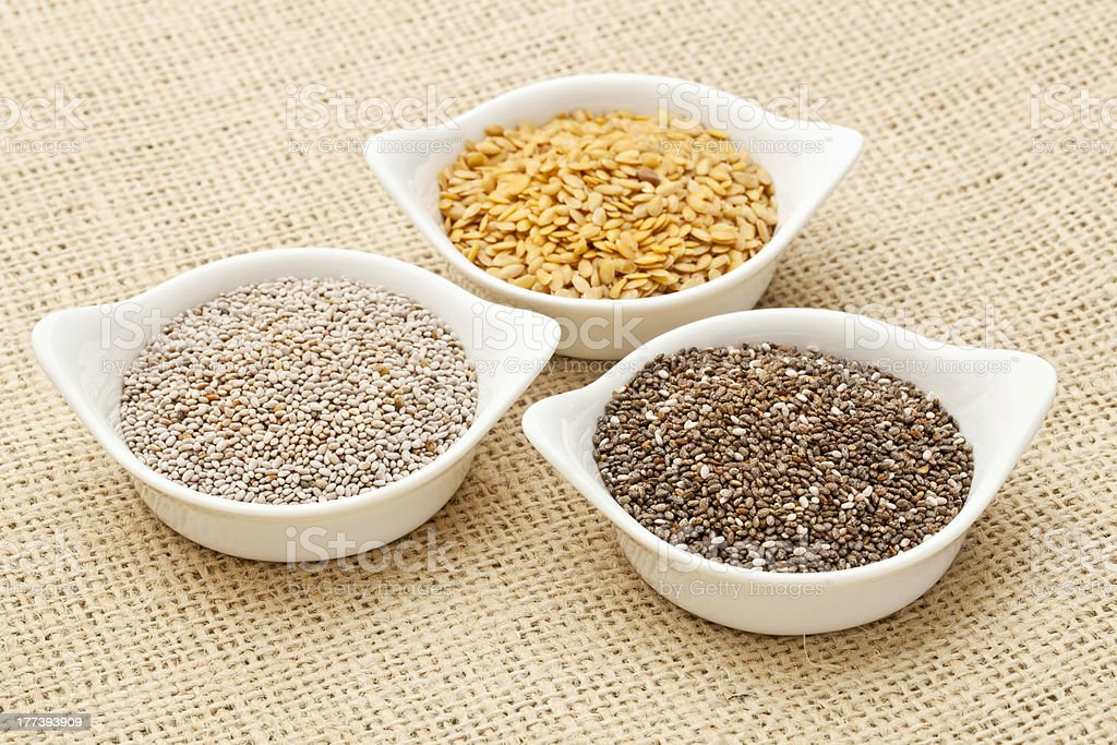 chia and flax seed stock photo