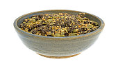 Chia cranberry and pumpkin seeds breakfast cereal in bowl