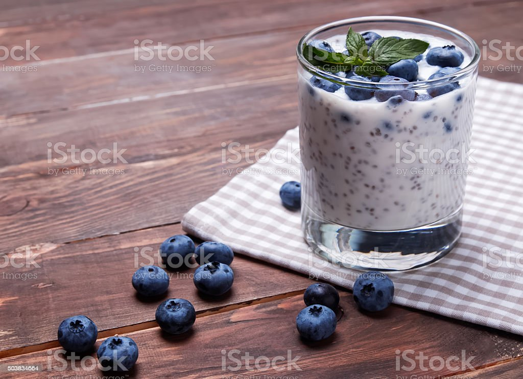 Chia pudding in a glass stock photo