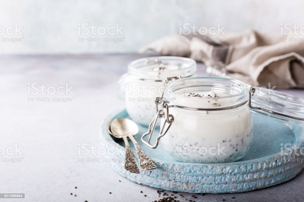 Chia pudding in glass jar. stock photo