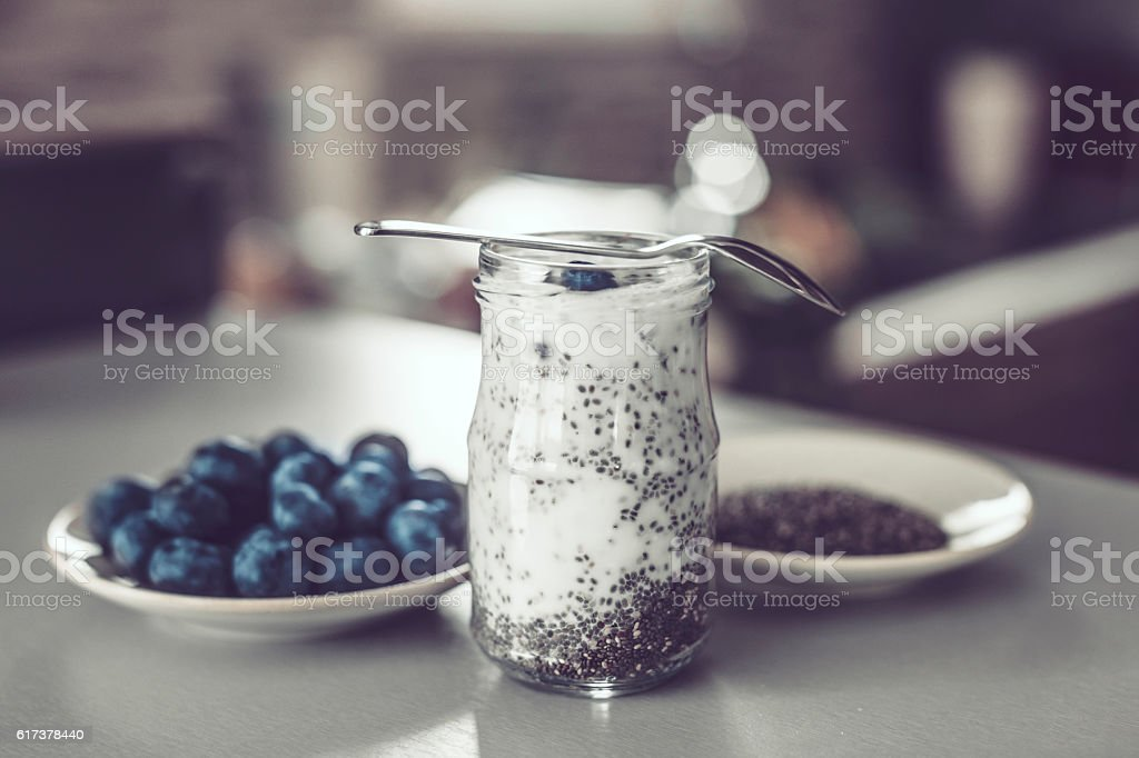 Chia seed pudding and blueberries stock photo
