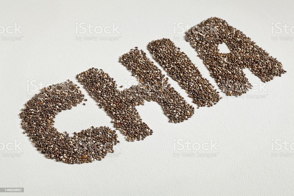 chia seeds and word royalty-free stock photo