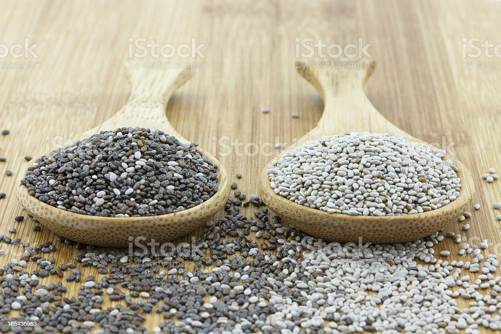chia seeds in black and white on wooden spoon stock photo