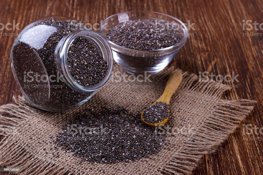 Chia seeds in jar stock photo