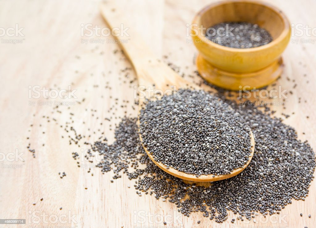 chia seeds in wooden spoon stock photo