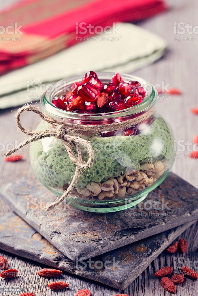 Chia seeds matcha pudding stock photo