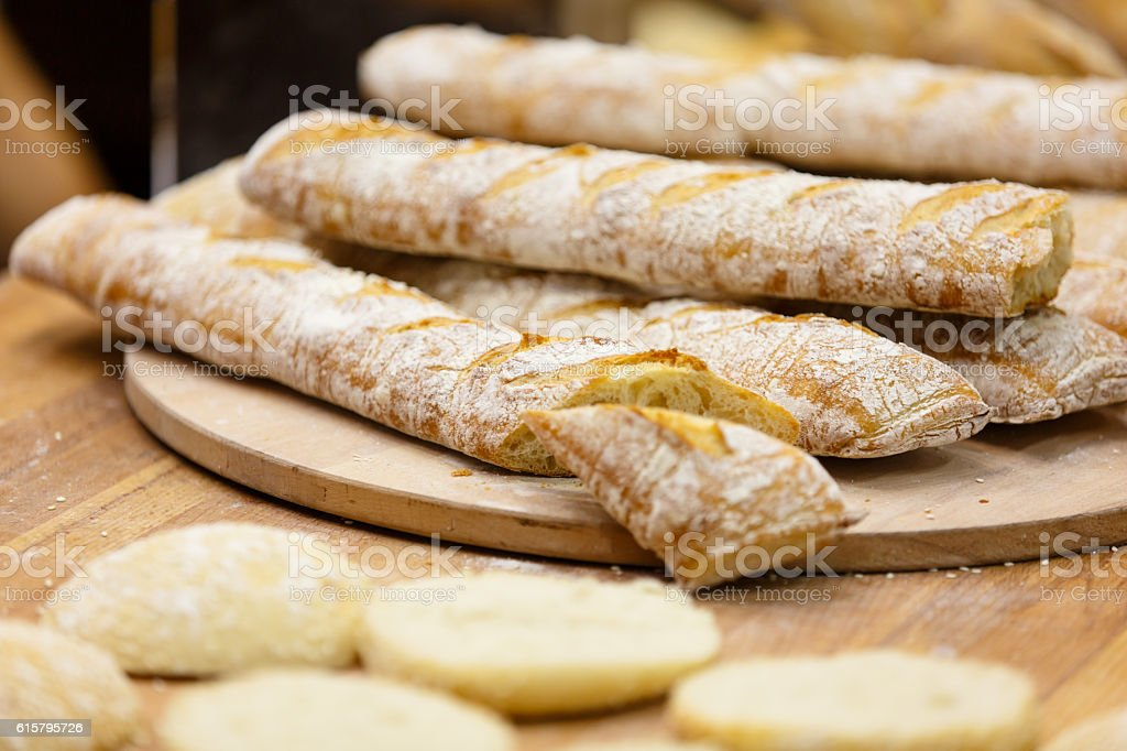 Chiabatta with olives stock photo