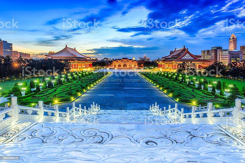Chiang Kai Sek Memorial Hall at night stock photo