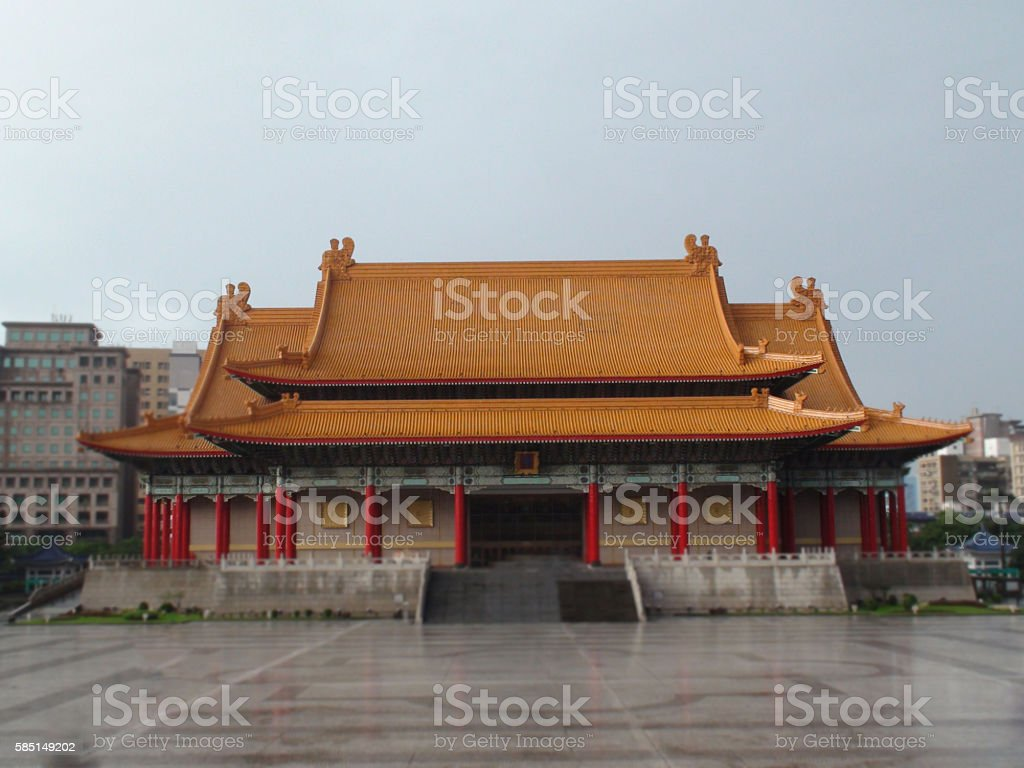 Chiang Kai Shek Memorial Square National Theatre Situated In Taipei stock photo