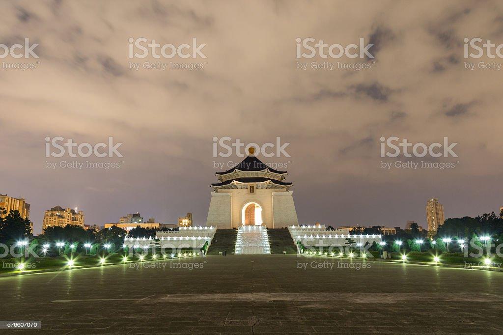 Chiang Kai-Shek Memorial Hall by night stock photo