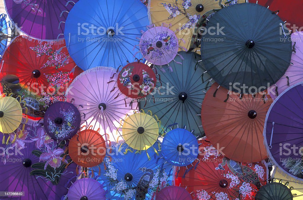 Chiang Mai Colorful Rice Paper Umbrellas, Thailand stock photo