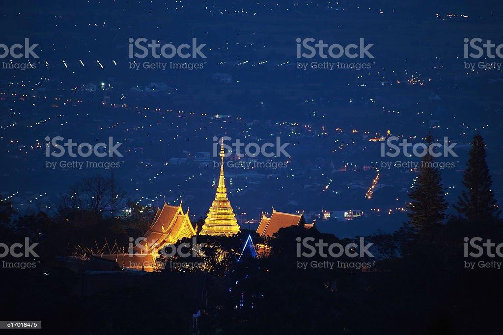 Chiang Mai night light landscape from Doi Suthep , Thailand. stock photo