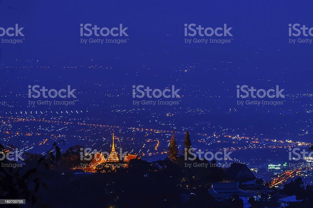 Chiang mai night light landscape stock photo