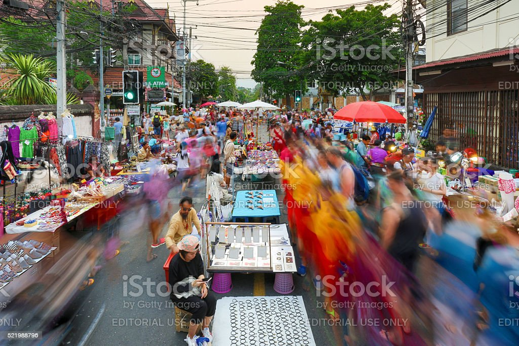 Chiangmai market walking street. stock photo