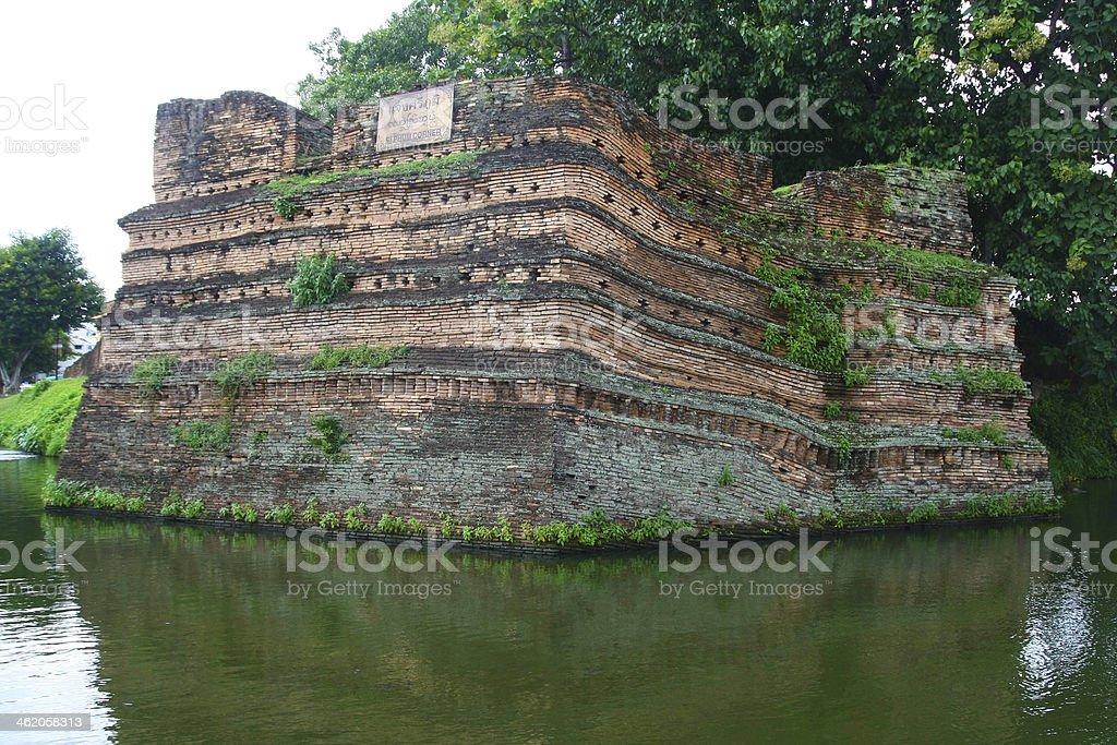 Chiangmai moat and ancient wall ,Thailand royalty-free stock photo
