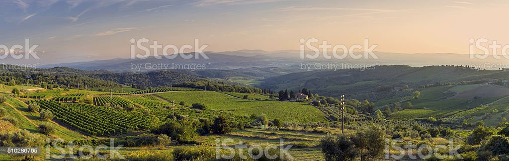 Chianti region at the susnset-Tuscany. Color image stock photo