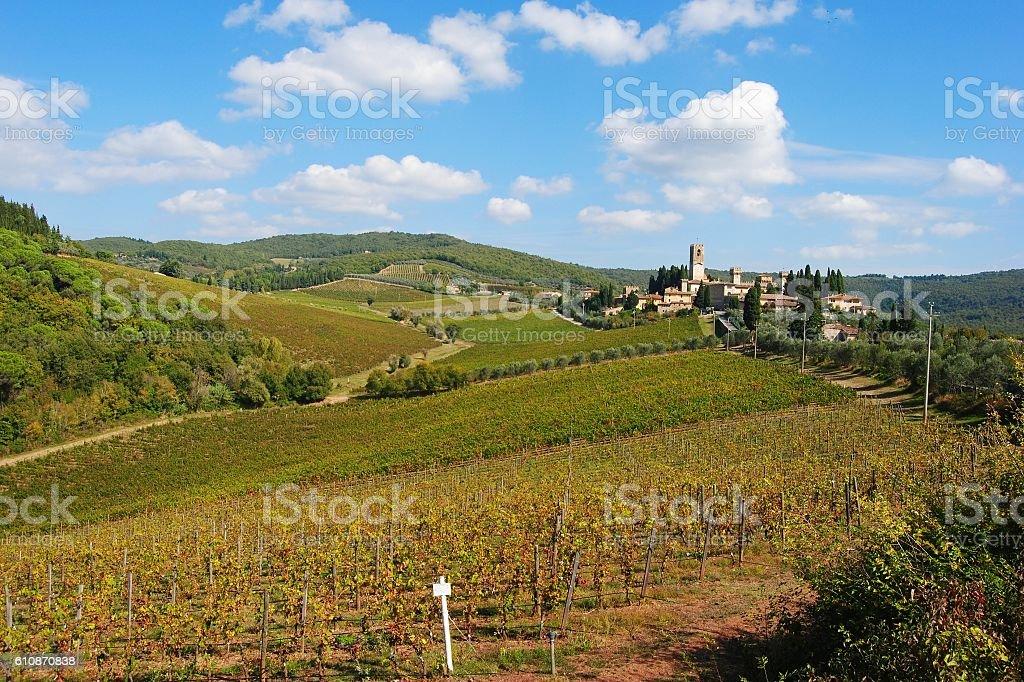 Chianti scenery in Tuscany, Italy stock photo