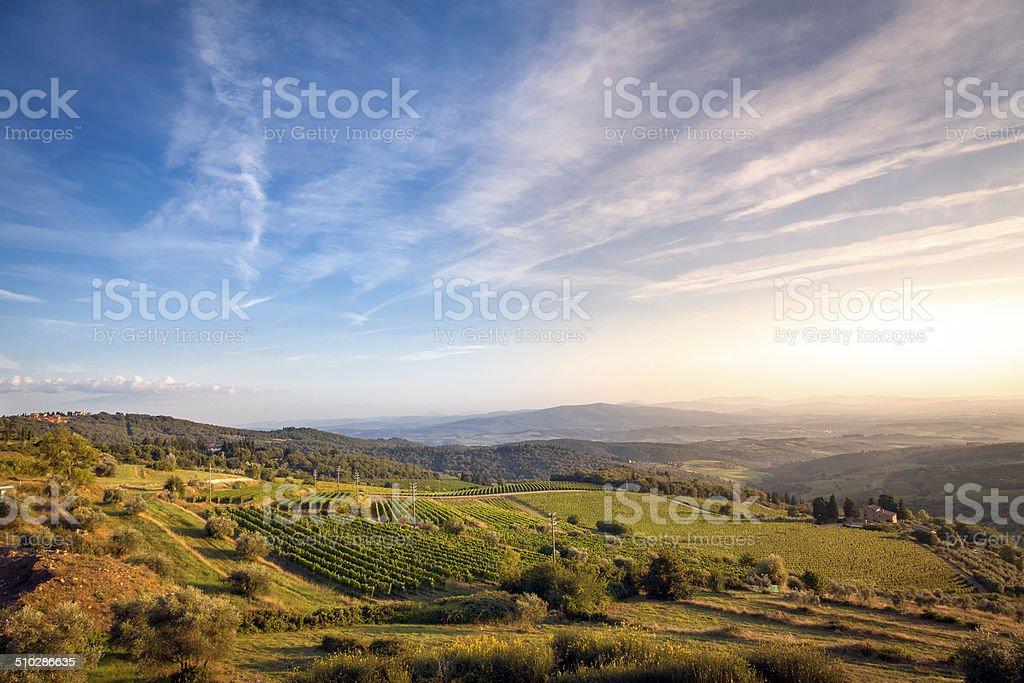 Chianti sunset panorama-Tuscany. Color image stock photo