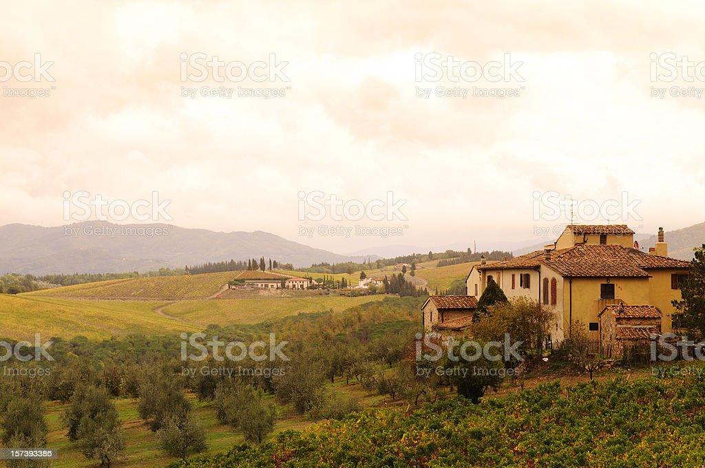 Chianti Valley in Tuscany Fall stock photo