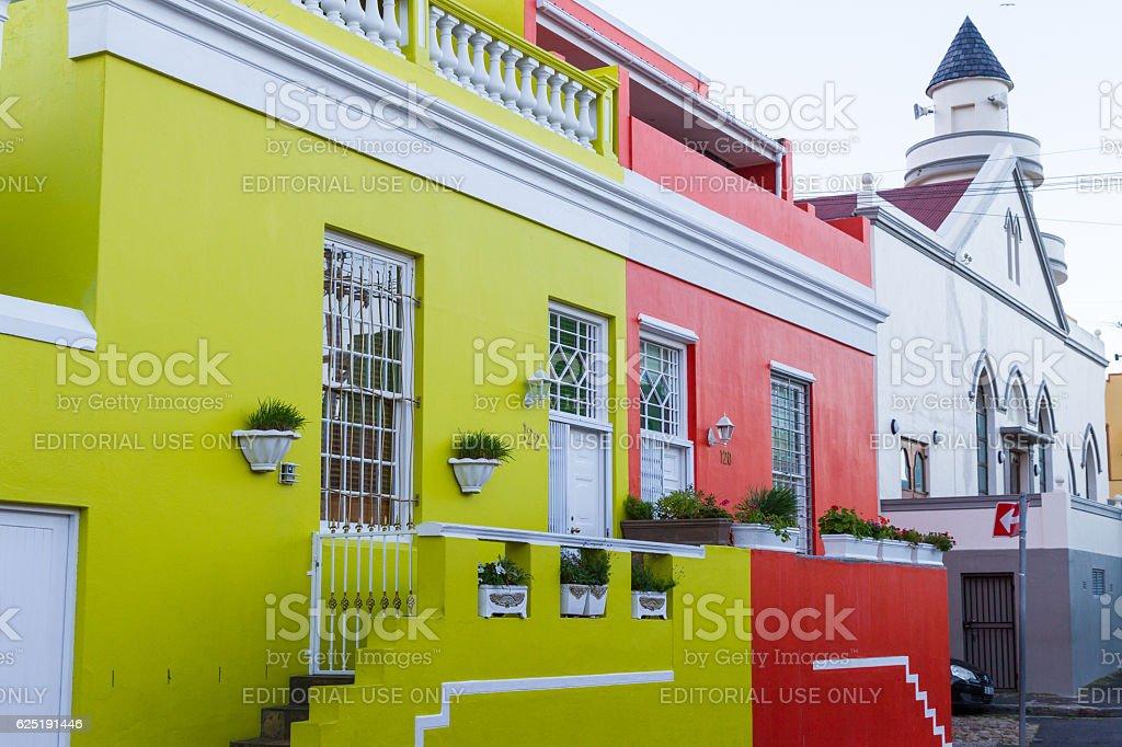 Chiappini Street Houses & Mosque, Bo-Kaap stock photo