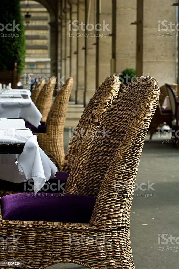 Chic outdoor restaurant seating royalty-free stock photo