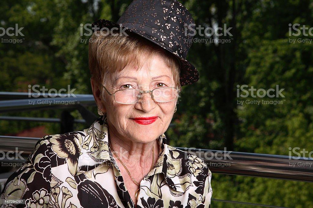 Chic senior lady stock photo