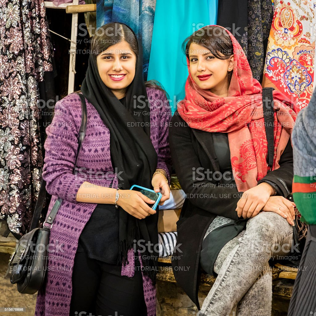 Chic sisters at Vakil Bazaar, Shiraz, Iran stock photo