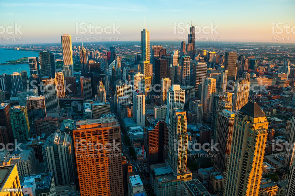 Chicago aerial at the Golden Hour stock photo