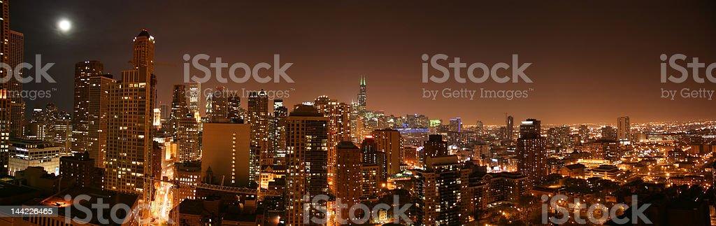 Chicago aerial night pano stock photo