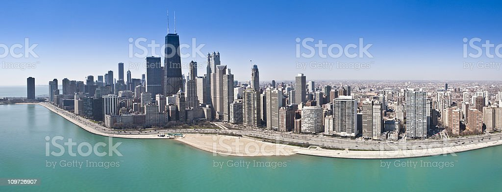 Chicago Aerial Panorama stock photo