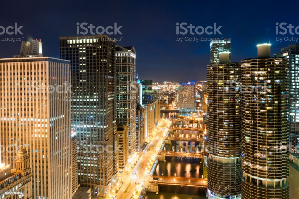Chicago - Aerial View of Downtown and River at Twilight stock photo