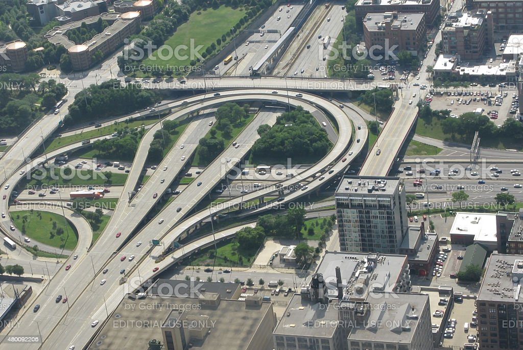 Chicago aerial view of road infrastructure stock photo