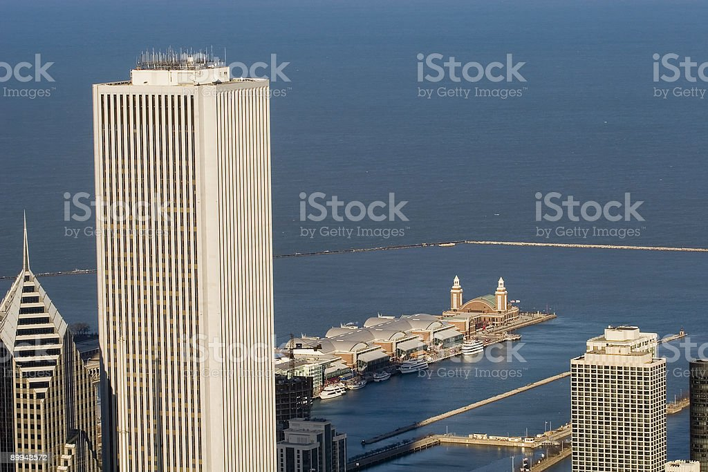 Chicago Aerial View towards Navy Pier stock photo
