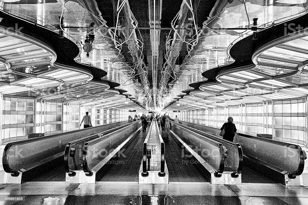 Chicago Airport.Black and White stock photo