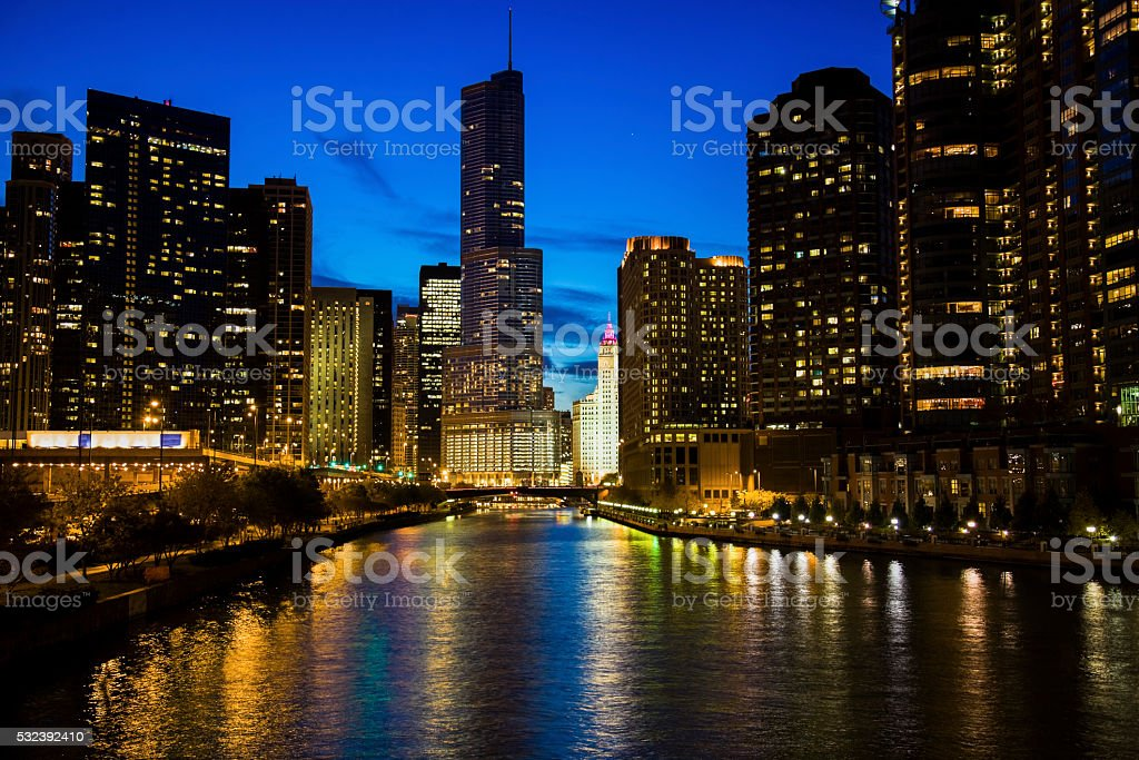 Chicago along the river stock photo