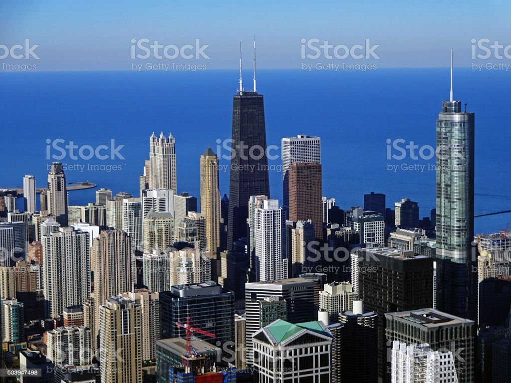 Chicago and Lake Michigan from the Willis Tower, 2013 stock photo