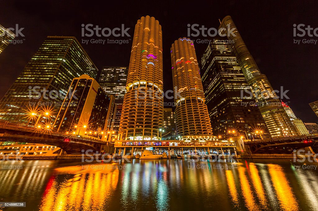 Chicago Architecture and Chicago River stock photo
