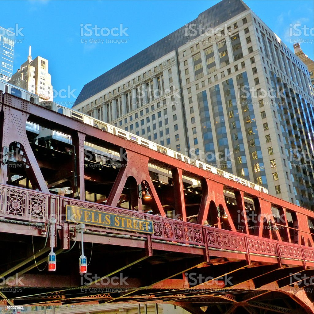 Chicago- architecture, metro, The L, transport stock photo
