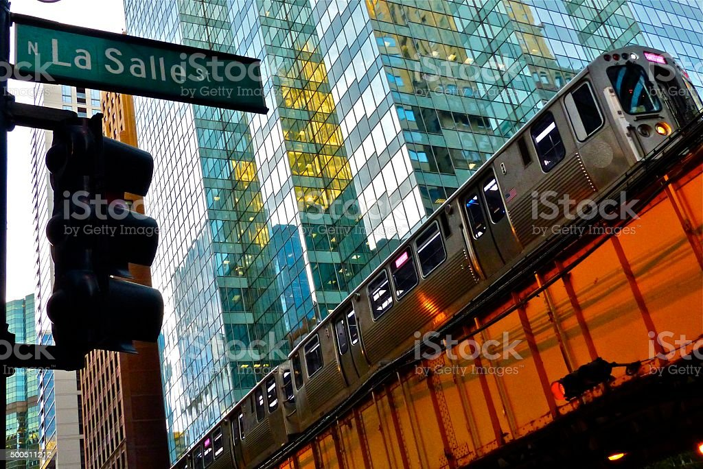 Chicago- architecture, métro, The L, transport stock photo
