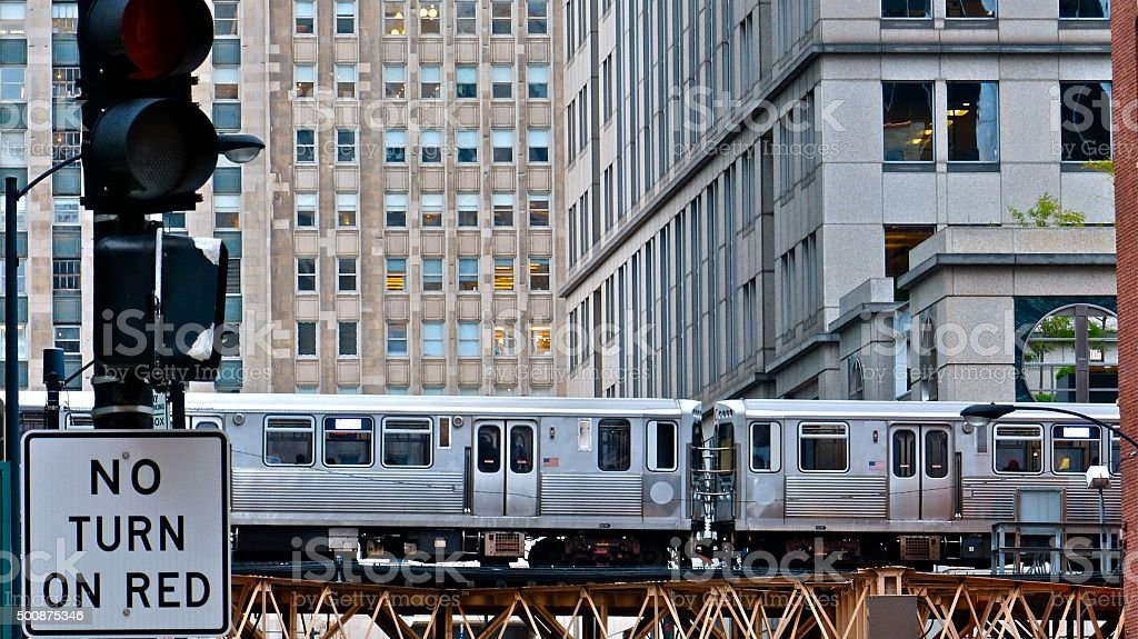 Chicago- architecture, métro, The L, transporto stock photo