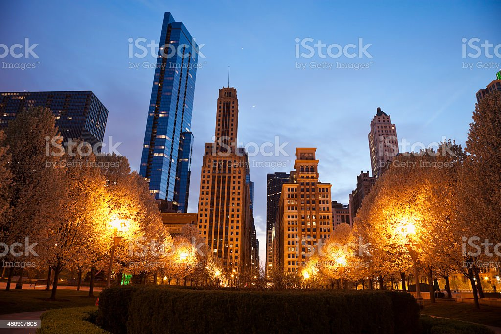 Chicago architecture seen from Millennium Park stock photo