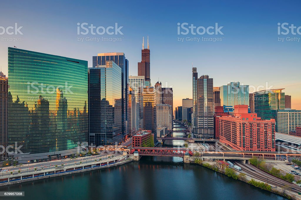 Chicago at dawn. stock photo