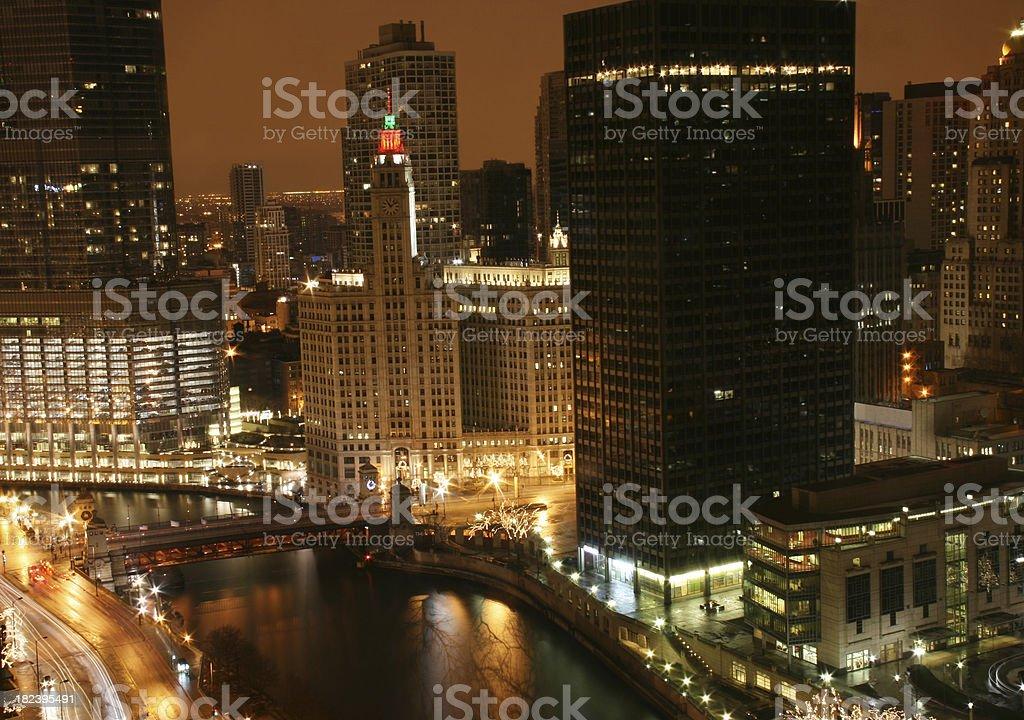 Chicago at dusk.  Horizontal.  Christmas decorations. royalty-free stock photo