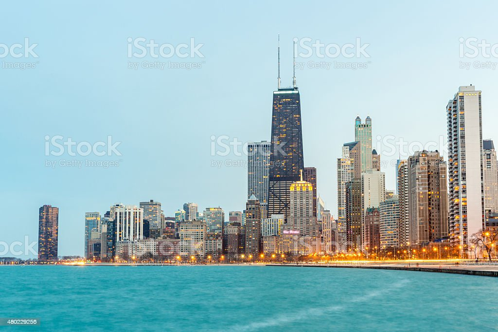 Chicago at dusk stock photo